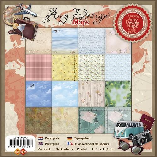 Motivpapier-Set / Scrapbook - Amy Design - Maps