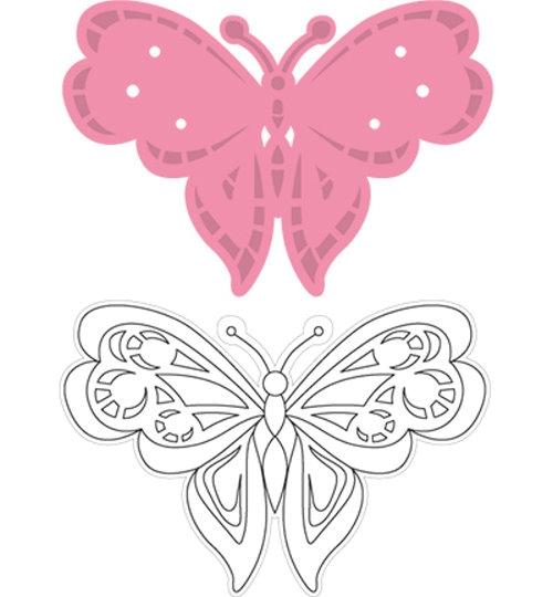 Schmetterling 2 - Stanzschablone und Stempel im Set